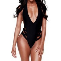Sexy Women's Halter Black One-Piece Swimsuit black