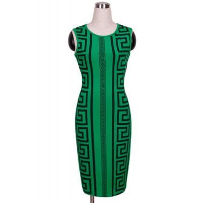 Sexy Women's Jewel Neck Sleeveless Printed Bodycon Dress green
