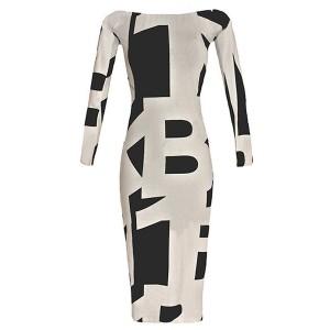 Sexy Women's Off The Shoulder Long Sleeve Geometric Dress