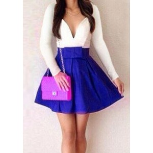 Sexy Women's Plunging Neckline Color Block Long Sleeve Dress white blue