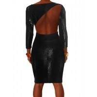 Sexy Women's Scoop Neck Backless Snake Print Long Sleeve Bodycon Dress black