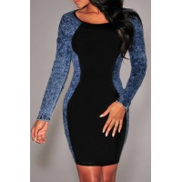 Sexy Women's Scoop Neck Long Sleeve Denim Splicing Dress blue