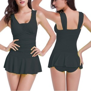 Sexy Women's Solid ColorSquare Neck One-Piece Swimsuit black