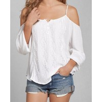 Sexy Women's Spaghetti Strap White Off The Shoulder Long Sleeve Blouse