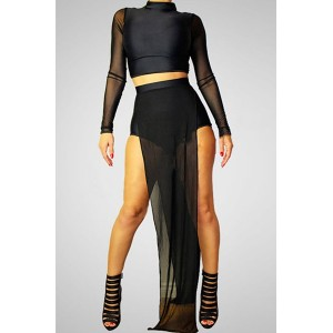 Sexy Women's Turtleneck Mesh Splicing Crop Top and Shorts Suit black white