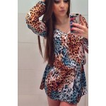Simple V-Neck Long Sleeve Leopard Print Dress For Women