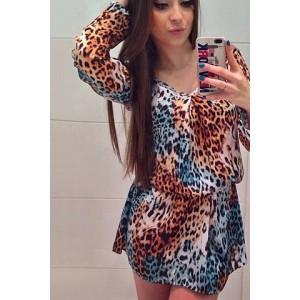 Simple V-Neck Long Sleeve Leopard Print Dress For Women