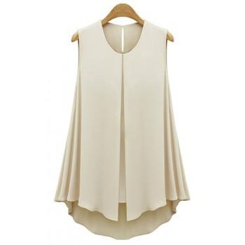 Solid Color Casual Scoop Neck Front Slit Sleeveless Blouse For Women blue apricot