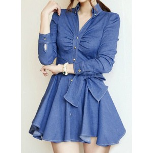 Solid Color Lace-Up Stylish V-Neck Long Sleeve Women's Denim Dress