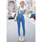 Straight Leg Single-Breasted Refreshing Style Sleeveless Denim Overalls For Women blue