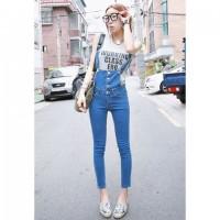 Straight Leg Single-Breasted Refreshing Style Sleeveless Denim Overalls For Women blue