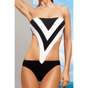 Strapless Color Splicing Hollow Out Sexy One-Piece Swimsuit For Women black white