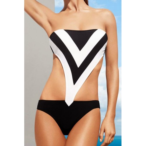 b52ba7e56a Strapless Color Splicing Hollow Out Sexy One-Piece Swimsuit For Women black  white