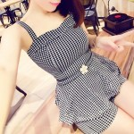 Straps Houndstooth Peplum Tank Top and Shorts Trendy Style Suit For Women checked