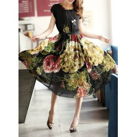 Stylish Flower Print Scoop Neck High Waist Short Sleeve Chiffon Dress For Women black