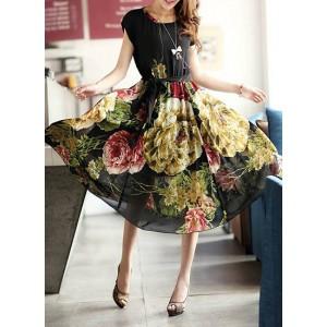 Stylish Flower Print Scoop Neck High Waist Short Sleeve Chiffon Dress For Women black