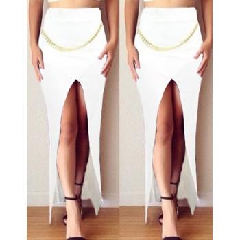 Stylish High-Waisted Chains Embellished Slit Skirt For Women black white