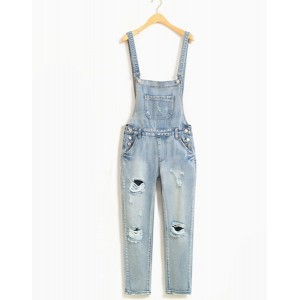 Stylish Mid-Waisted Slimming Hole Design Denim Overalls For Women blue gray