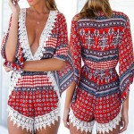 Stylish Plunging Neck 3/4 Sleeve Printed Lace Embellished Romper For Women blue gray red