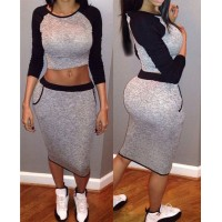 Stylish Round Collar Long Sleeve Color Block Crop Top + Bodycon Skirt Twinset For Women black