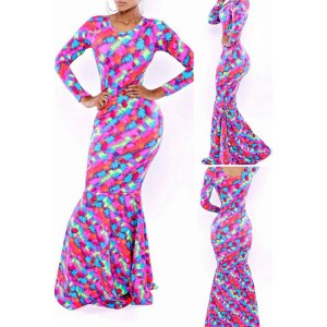 Stylish Scoop Neck Long Sleeve Printed Dress For Women