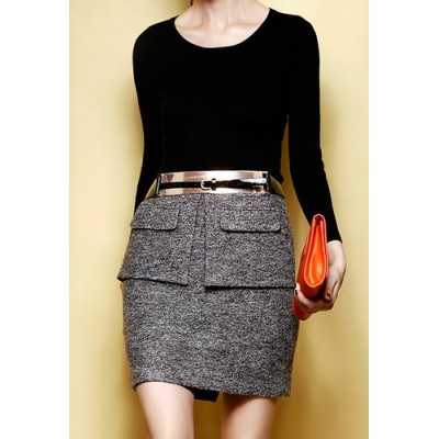 Stylish Scoop Neck Long Sleeve Solid Color Blouse + High-Waisted Skirt Twinset For Women black gray