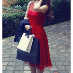 Stylish Solid Color Scoop Neck Chiffon Dress For Women wine red