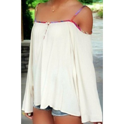 Stylish Spaghetti Strap Long Sleeve Backless Blouse For Women white red
