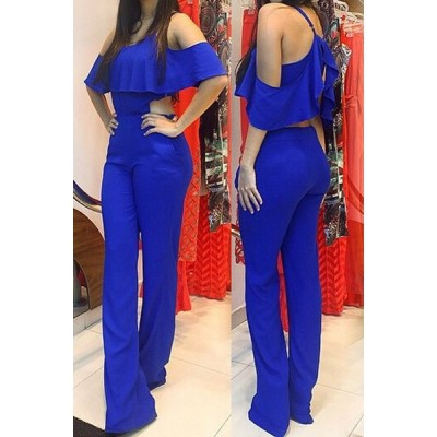 Stylish Spaghetti Strap Sleeveless Flounced Solid Color Jumpsuit For Women blue