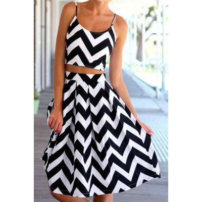 Stylish Spaghetti Strap Tank Top + High-Waisted Wave Print Skirt Twinset For Women black white