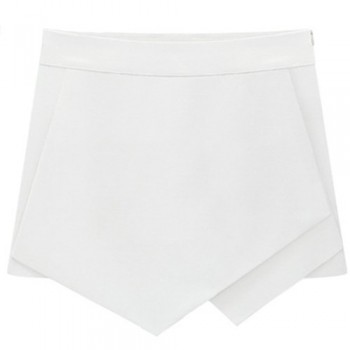 Stylish Special Cut Zippered Solid Color Shorts For Women black white