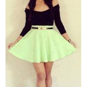 Stylish V-Neck Long Sleeve Spliced Dress For Women green
