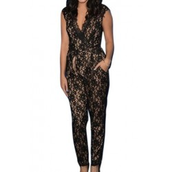 Stylish V-Neck Sleeveless Flower Pattern Lace Jumpsuit For Women black