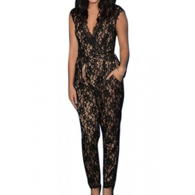 Stylish V-Neck Sleeveless Flower Pattern Lace Jumpsuit For Women black