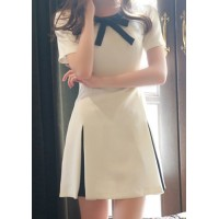 Stylish Women's Bow Tie Collar Color Block Short Sleeve Dress white