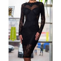 Stylish Women's Jewel Neck Long Sleeve Backless Black Lace Dress