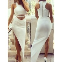 Stylish Women's Round Neck Sleeveless Solid Color Side Slit Suit