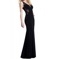 Stylish Women's V-Neck Lace Splicing Sleeveless Dress black