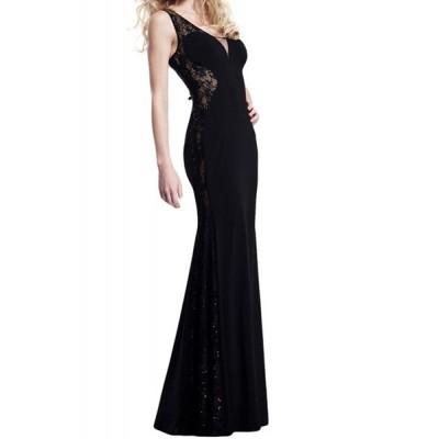 Stylish Women's V-Neck Lace Splicing Sleeveless Dress black