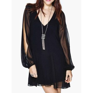 Stylish Women's V-Neck Long Sleeve Backless Black Dress