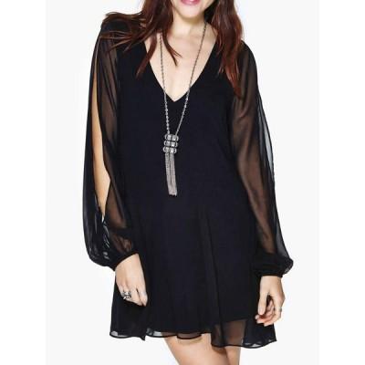 Stylish Women's V-Neck Long Sleeve Backless Black Dress