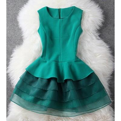 Sweet Round Neck Sleeveless Spliced Layered Flounced Dress For Women green