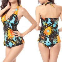 Trendy Women's Printed Halter Two-Piece Swimsuit black