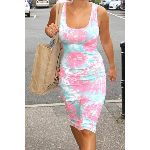 U-Neck Sleeves Floral Print Stylish Dress For Women white pink