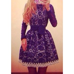 Vintage Round Neck Long Sleeve Spliced Lace Dress For Women blue