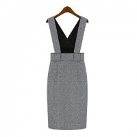 Vintage Solid Color Bodycon Women's Suspenders Dress gray
