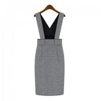 Vintage Solid Color Bodycon Women's Suspenders Dress gray