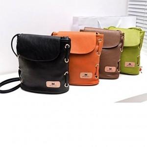 Women's Fashion Candy Color Handbag Leather Cross Body Shoulder Bag Bucket Bag Messenger black brown green orange
