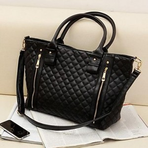 Women's Fashion Office Lady Quilted Shoulder Tote Bag Handbag black