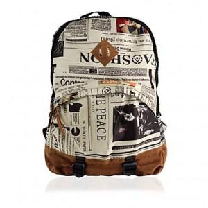 Women's Fashion Unisex Newspaper Design Print Backpack Schoolbag Shoulder Bag